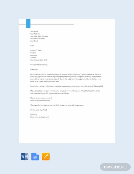 Free Fresher Engineer Resume Cover Letter Template