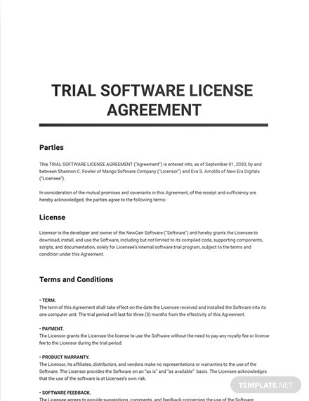 Trial Software License Agreement Sample