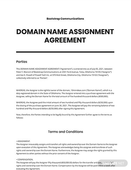 Domain Name Assignment Agreement Template