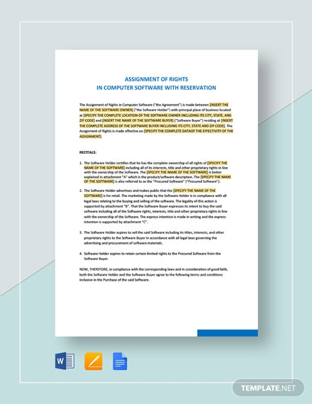Assignment of Rights in Computer Software With Reservation Template
