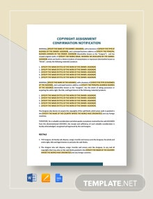 Copyright Assignment Confirmation Notification Template