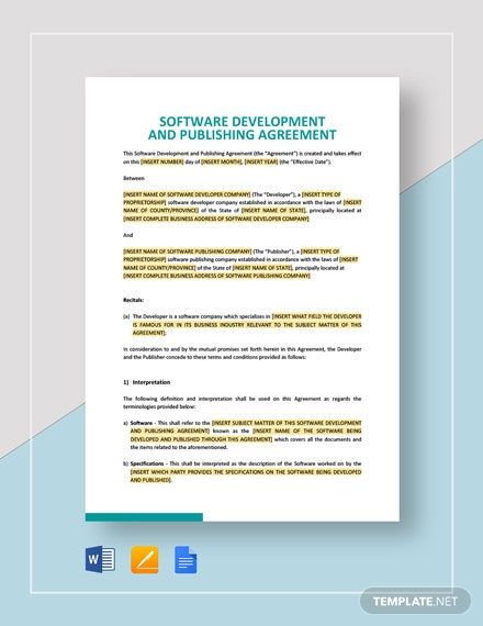 Software Development and Publishing Agreement Template