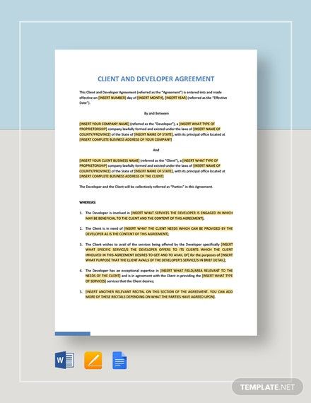 Client and Developer Agreement Template