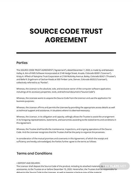 Source Code Trust Agreement Template