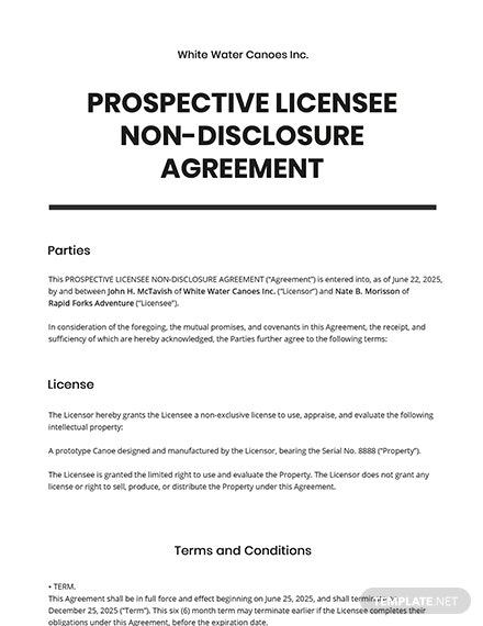 Prospective Licensee Non-Disclosure Agreement Template