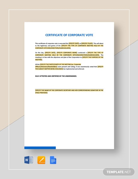 Certificate of Corporate Vote Template