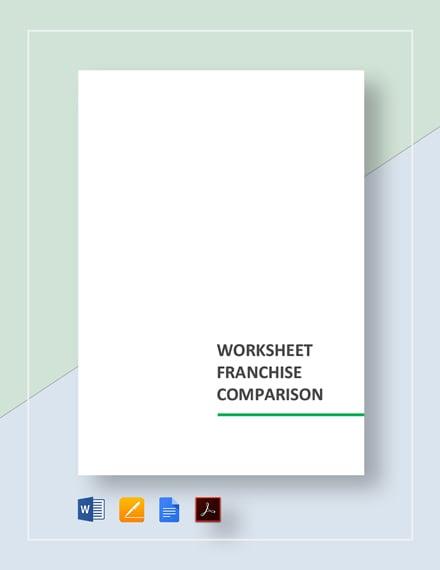 Worksheet Franchise Comparison Template