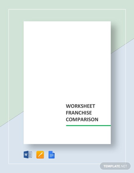 Worksheet Franchise Comparison Template