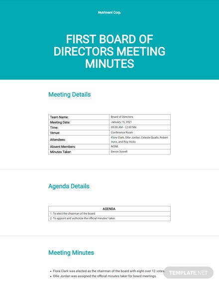 Editable Minutes of Meeting of Directors First Template