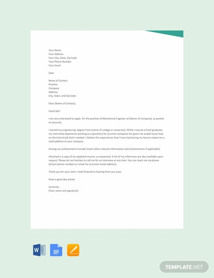 FREE Fresher Mechanical Engineer Resume Cover Letter Template