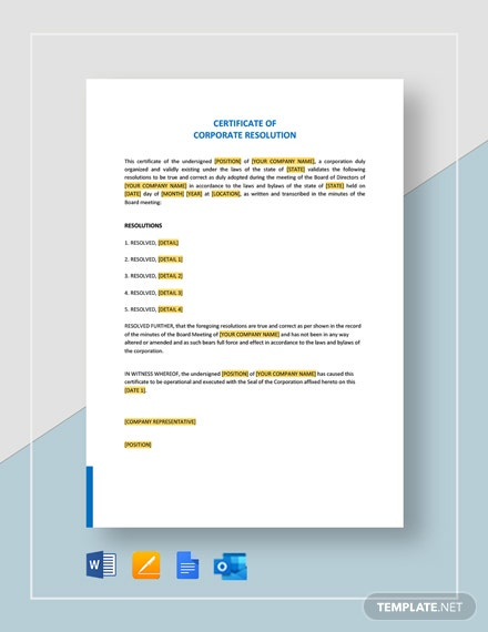 Certificate of Corporate Resolution Template
