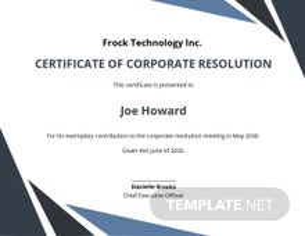 Certificate of Corporate Resolution Template