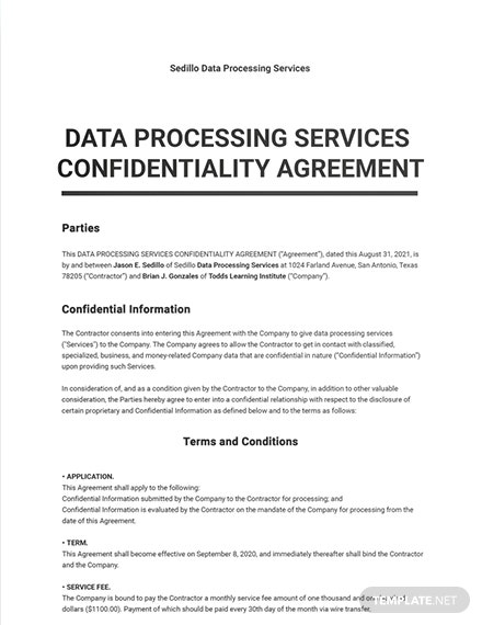 Data Processing Services Confidentiality Agreement Template