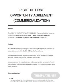 Right of First Opportunity Agreement Commercialization Template