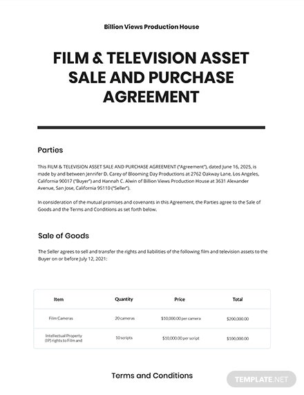 Film  Television Asset Sale and Purchase Agreement