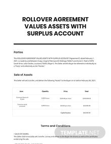 Rollover Agreement Values Assets with Surplus Account Template