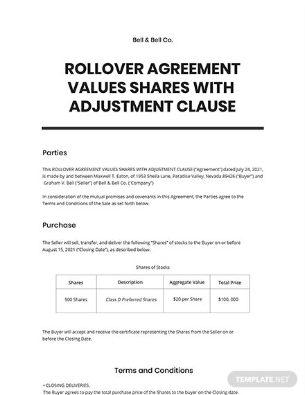 Rollover Agreement Values Shares with Adjustment Clause Template