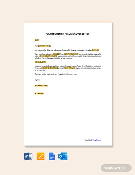 Free Graphic Design Resume Cover Letter Template