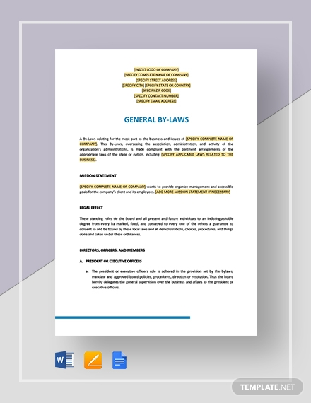 General By-Laws Template