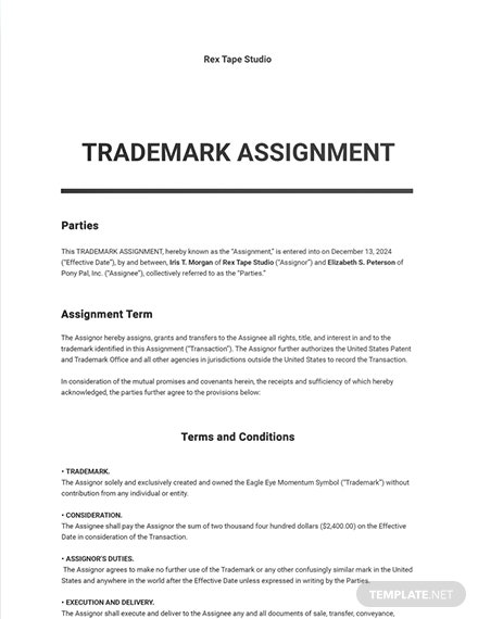Trademark Assignment Template