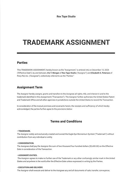 Trademark Assignment Template