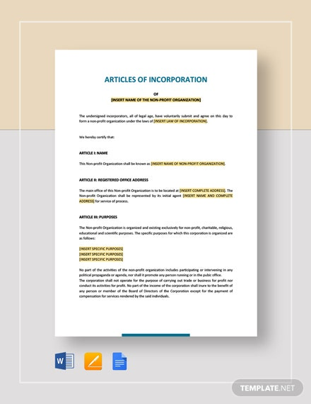 Articles of Incorporation for a non Profit Organisation Template