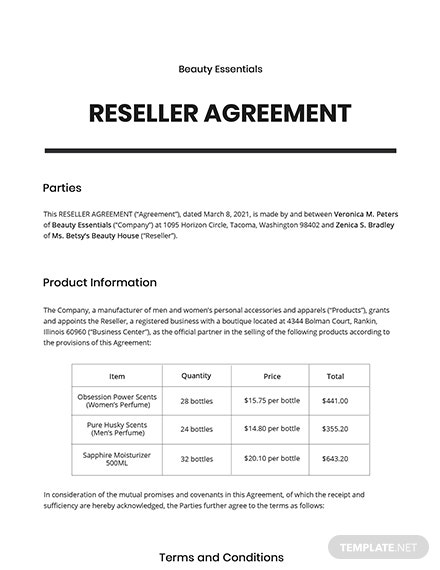 Reseller Agreement Template