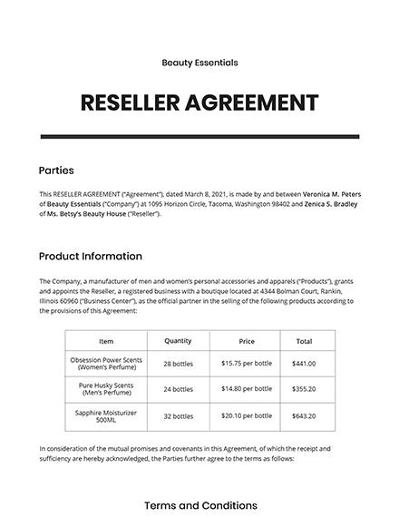 Reseller Agreement Template