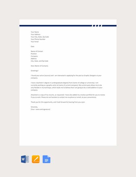 Free Graphic Designer Resume Cover Letter Template