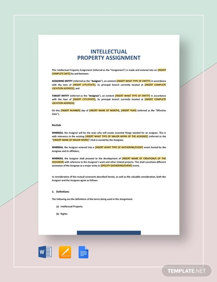 Intellectual Property Assignment Template