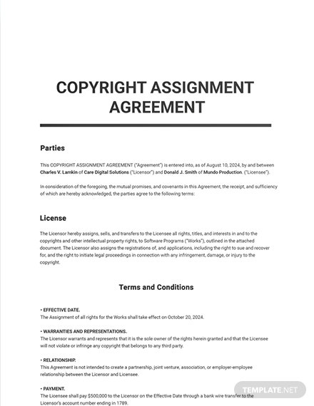 Copyright Assignment Template