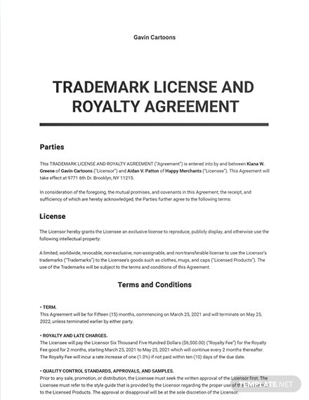 Trademark License and Royalty Agreement Sample