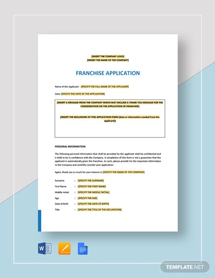 Franchise Application Template