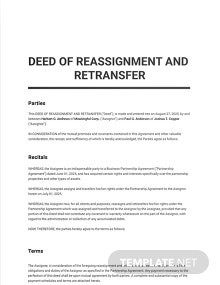 Deed of Reassignment and Retransfer Template