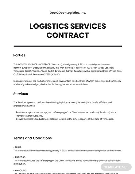 Logistics Services Contract Template