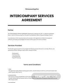 Inter-Company Services Agreement Template