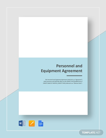 Personnel and Equipment Agreement Template