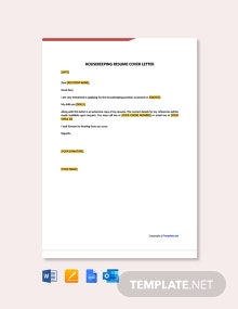 Free Housekeeping Resume Cover Letter Template
