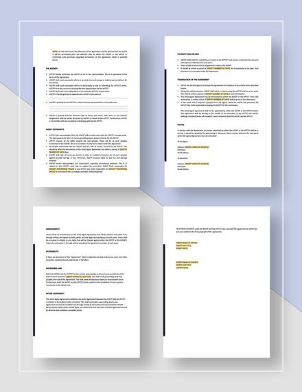 Artist Agent Agreement Template Word Google Docs Apple