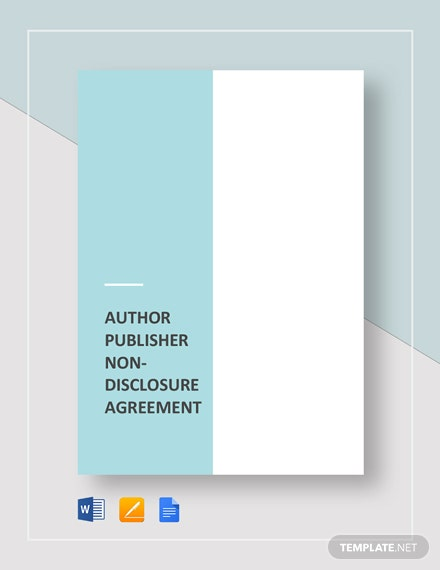 Author-Publisher Non-Disclosure Agreement Template