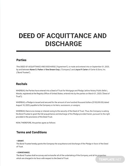 Deed of Acquittance and Discharge Template