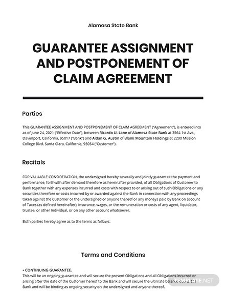 Guarantee Assignment and Postponement of Claim Template