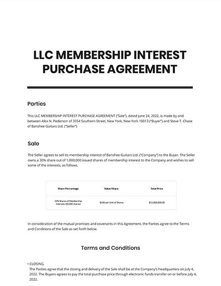 LLC Membership Interest Purchase Agreement Template