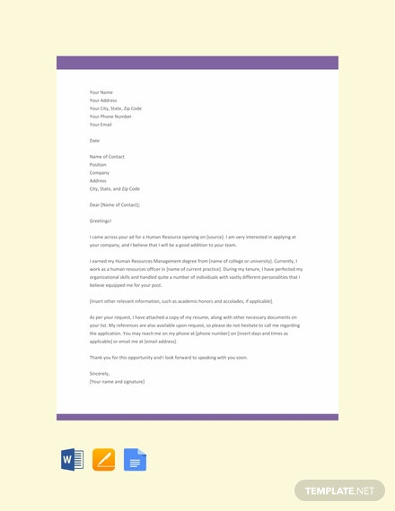 free hr resume cover letter template  download 2538