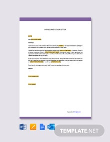 Free HR Resume Cover Letter Template