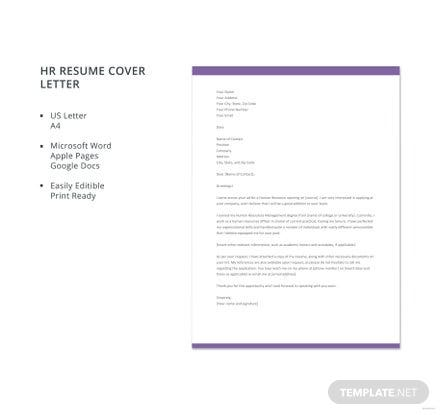 Free hr resume cover letter template in microsoft word apple pages free hr resume cover letter template spiritdancerdesigns Choice Image