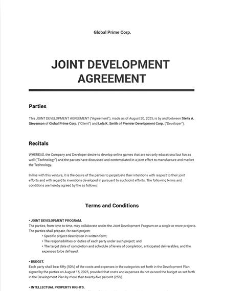 Standard Joint Development Agreement Template