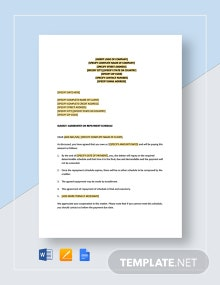 Letter Agreement on Repayment Schedule Template