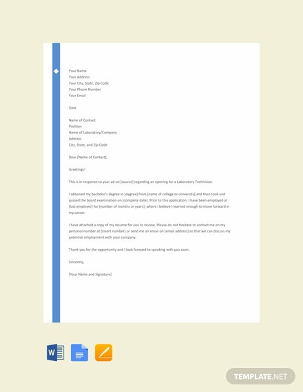 FREE Lab Technician Resume Cover Letter Template - Word ...
