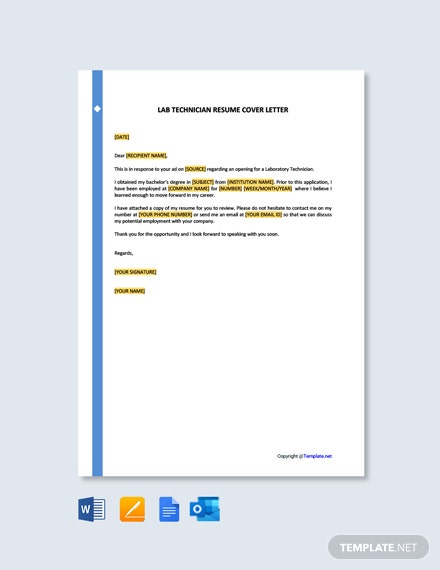 Lab Technician Resume Cover Letter Template